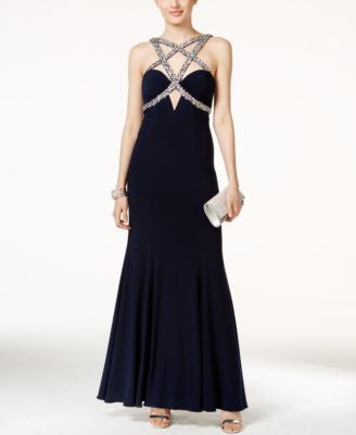 Xscape Faux-Gem Encrusted Crisscross-Front Gown