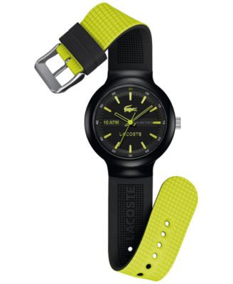 Lacoste Men's Borneo Black Silicone Strap Watch 44mm 2010656