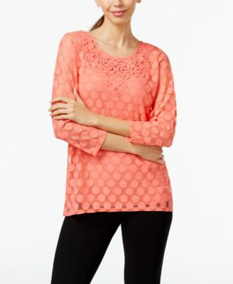 Alfani Embroidered Lace Top, Only at Vogily