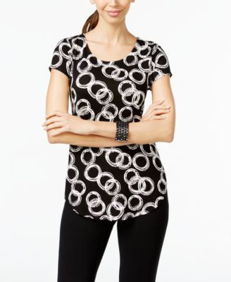Alfani Petite Ring-Print Cap-Sleeve Top, Only at Vogily