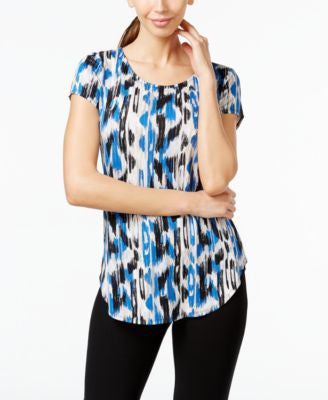 Alfani Printed Cap-Sleeve Top, Only at Vogily