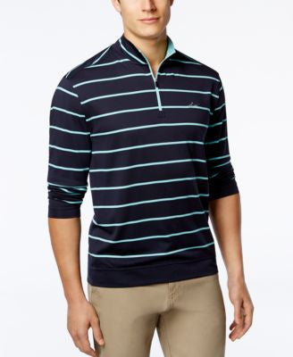 Greg Norman for Tasso Elba Men's 1/4 Zip Striped Golf Pullover