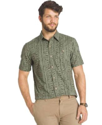 G.H. Bass & Co. Big & Tall Short-Sleeve Printed Homespun Shirt