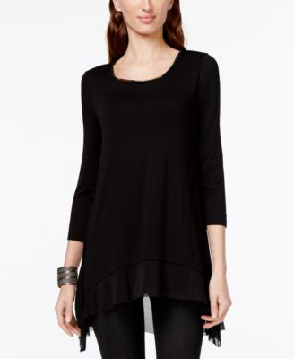 Cable & Gauge Layered Mesh-Hem Top
