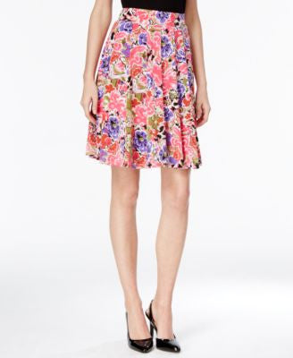 Grace Elements Floral-Print Pleated Skirt