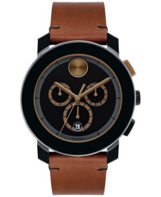 Movado Men's Swiss Chronograph Bold Cognac Leather Strap Watch 44mm 3600348