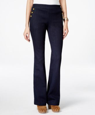 INC International Concepts Flared Button-Trim Jeans, Only at Vogily
