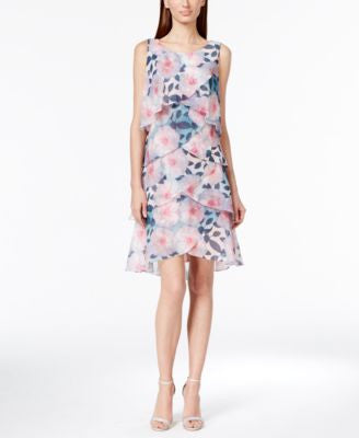 Style & Co. Tiered Tulip Printed Chiffon Dress, Only at Vogily