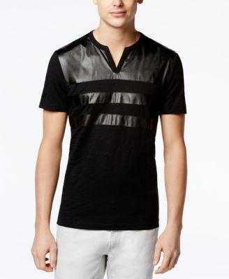 INC International Concepts Men's Faux Leather Minos T-Shirt, Only at Vogily