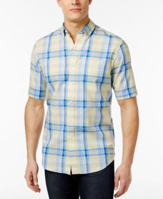 Club Room Men's Linen Plaid Short-Sleeve Shirt, Only at Vogily