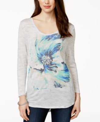 Lucky Brand Long-Sleeve Floral Graphic T-Shirt