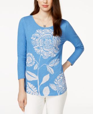 Lucky Brand Three-Quarter-Sleeve Floral-Print Top
