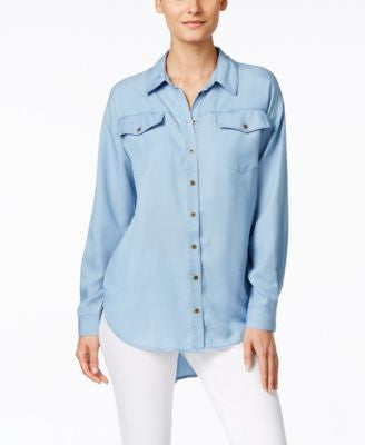 G.H. Bass & Co. Chambray Button-Front Tunic Shirt