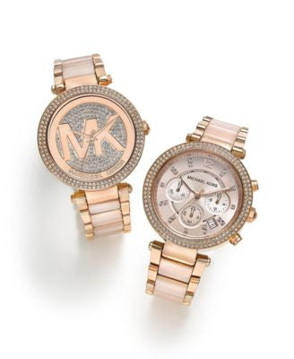 Michael Kors Women's Blush and Rose Gold-Tone Parker Collection Watches