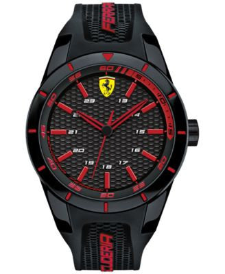 Scuderia Ferrari Mens Redrev Black Silicone Strap Watch 44mm 0830245