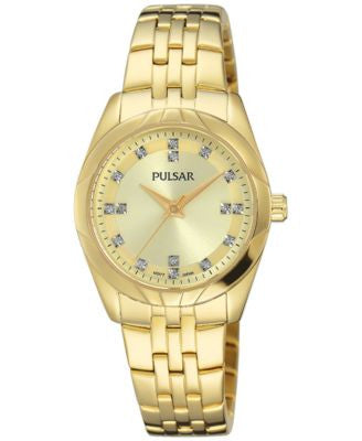 Pulsar Women's Night Out Gold-Tone Stainless Steel Bracelet Watch 28mm PH8146