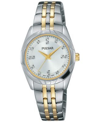 Pulsar Women's Night Out Two-Tone Stainless Steel Bracelet Watch 28mm PH8145