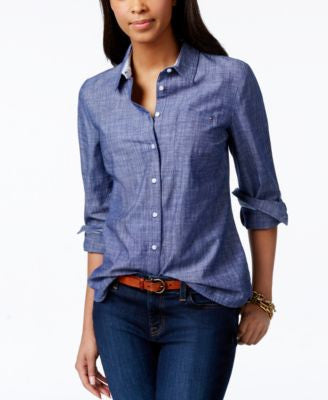 Tommy Hilfiger Roll-Tab Chambray Shirt, Only at Vogily