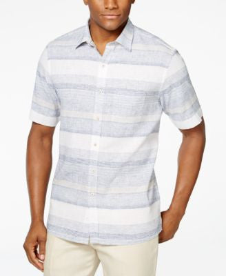 Tasso Elba Linen Short-Sleeve Horizontal Shirt, Only at Vogily
