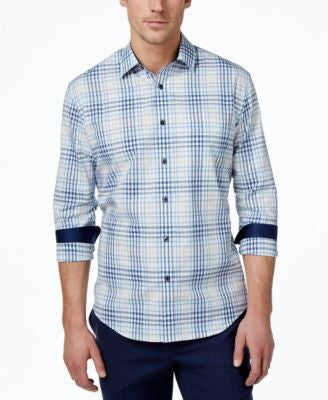Tasso Elba Men's Augusta Plaid Long-Sleeve Shirt, Only at Vogily