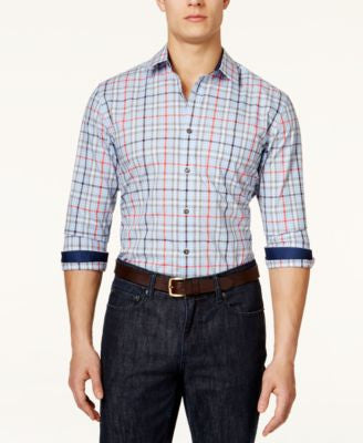 Tasso Elba Men's Montgomery Plaid Long-Sleeve Shirt, Only at Vogily