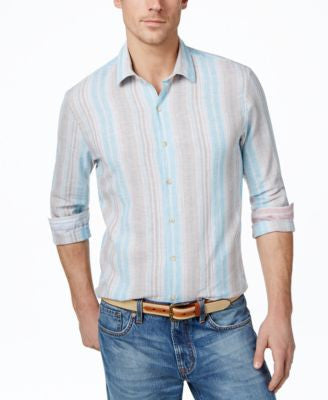 Tasso Elba Men's Big and Tall Vertical-Stripe Long-Sleeve Linen-Blend Shirt, Only at Vogily