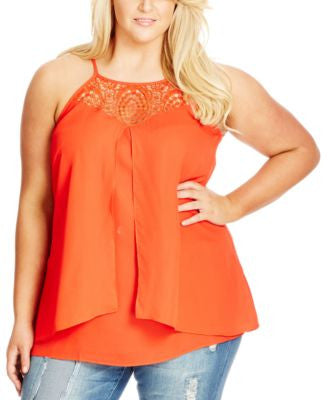 City Chic Plus Size Crochet-Trim Split-Front Top
