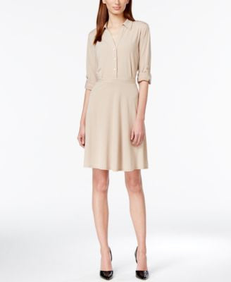 NY Collection Tab-Sleeve Shirtdress
