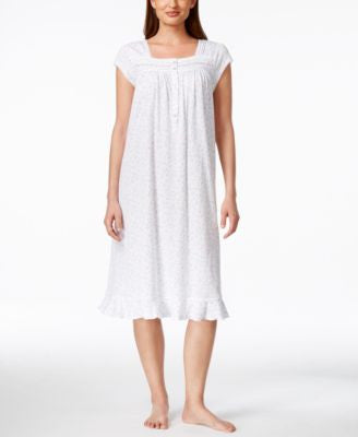 Eileen West Waltz Cap-Sleeve Lace-Trim Nightgown
