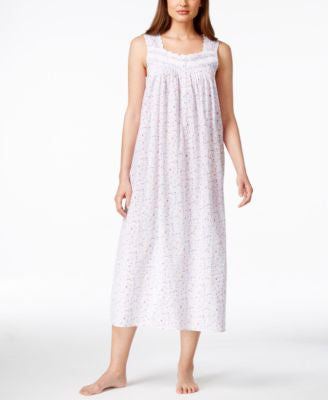 Eileen West Embroidered Floral-Print Long Nightgown