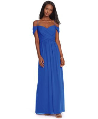 Lauren Ralph Lauren Off-The-Shoulder Georgette Gown