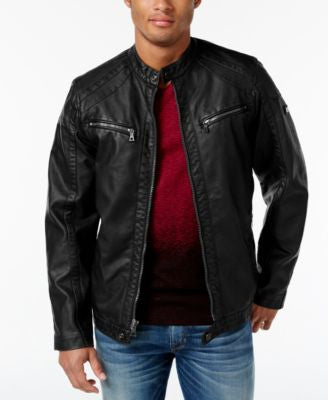 INC International Concepts Men's Faux Leather Zip-Front Moto Jacket, Only at Vogily