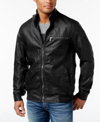 INC International Concepts Men's Varsity Faux Leather Zip-Front Jacket, Only at Vogily