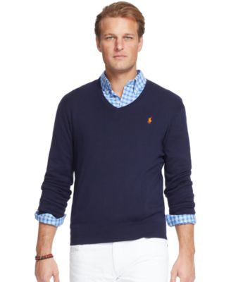 Polo Ralph Lauren Big and Tall Pima V-Neck Sweater