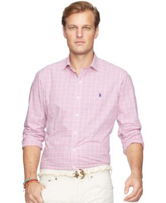 Polo Ralph Lauren Men's Big and Tall Checked Poplin Estate Shirt