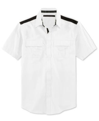 Sean John Men's Solid Twill Short-Sleeve Big & Tall Shirt