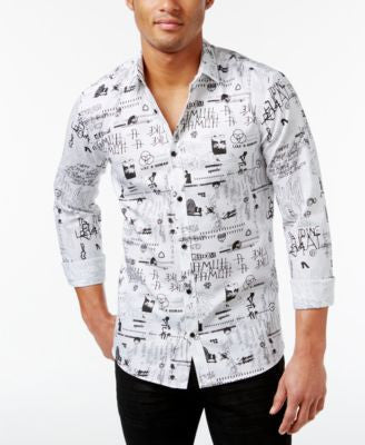 Hugo Boss Men's Ero3 Graffiti-Print Shirt