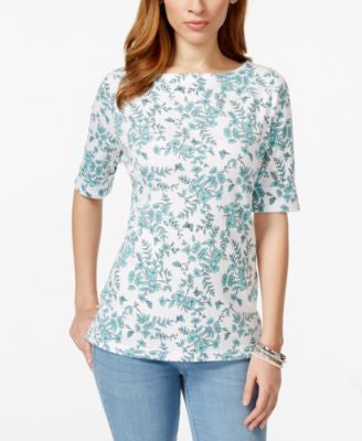 Karen Scott Petite Printed Boat-Neck Top, Only at Vogily
