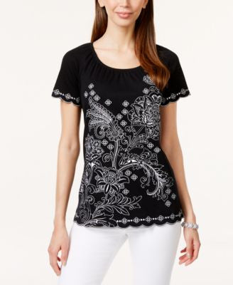 Karen Scott Embroidered Short-Sleeve Peasant Top, Only at Vogily