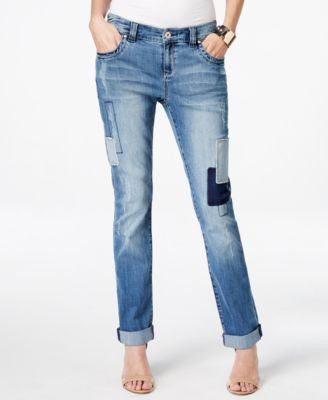 INC International Concepts Petite Patchwork Indigo Wash Boyfriend Jeans, Only at Vogily