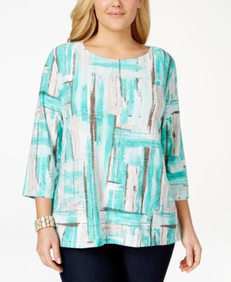 JM Collection Plus Size Textured Brushstroke-Print Top, Only at Vogily