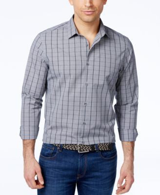 Alfani Men's Grid-Print Slim Long-Sleeve Shirt, Only at Vogily