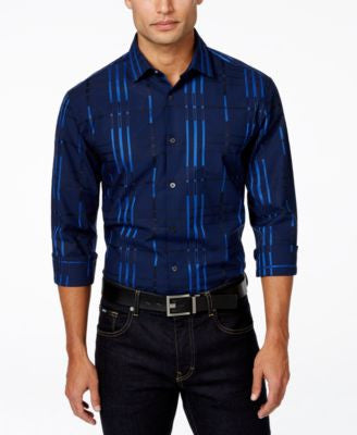 Alfani Big and Tall Men's Block Striped Long-Sleeve Shirt, Only at Vogily