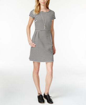 Maison Jules Rugby-Stripe Fit & Flare Dress, Only at Vogily