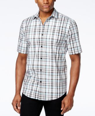 Alfani Big and Tall Men's Space Dyed Plaid Short-Sleeve Shirt, Only at Vogily