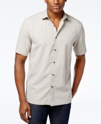 Alfani Men's Big & Tall Grid-Pattern Short-Sleeve Shirt