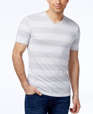 Alfani Men's Striped Slim-Fit V-Neck T-Shirt, Only at Vogily