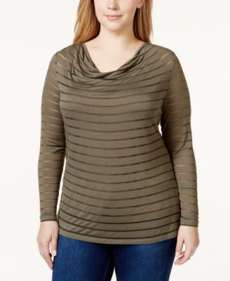 INC International Concepts Plus Size Illusion Mesh-Striped Top, Only at Vogily