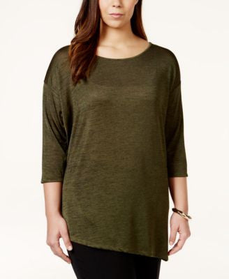 INC International Concepts Plus Size Marled Asymmetrical-Hem Sweater, Only at Vogily