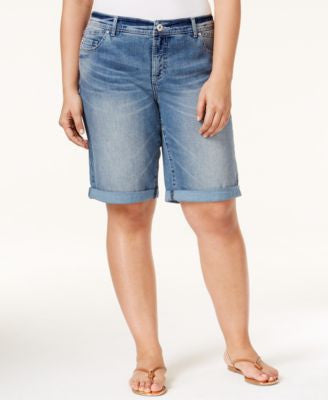 INC International Concepts Plus Size Denim Bermuda Shorts, Only at Vogily